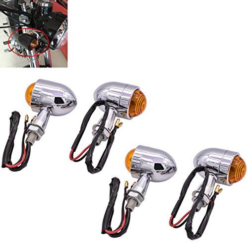 tuincyn Mini Motorrad Indikator Blinker Licht Form von Kugel Universal schwarz Motorrad fahren Leuchtmittel für Motorrad Chopper Bobber Cafe Stadt Sport Fahrrad 12V (Pack von 2). 4pcs Chrom