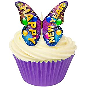 Pack of 12 Pre-Cut Edible Wafer Decorations - Happy New Year Butterfly 201-306