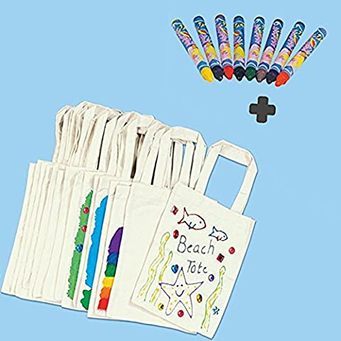 German Trendseller® - 10 pack small cotton bags for painting with free fabric pens ┃kindergarten┃mini fun toys┃giveaway ┃children´s