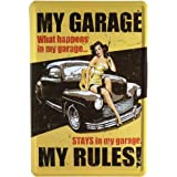 Tin Sign with Retro Pin-Up my Garage my Rules! 20 x 30 CM Retro Advertisement 329 by Blechschild 20 x 30 cm