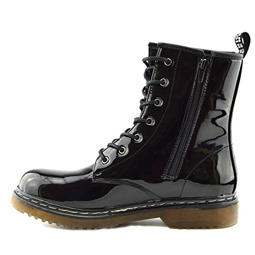 Kick Footwear - Ladies ankle retro combat boot womens lace funky vintage goth ankle boot Nero (Vernice nera)