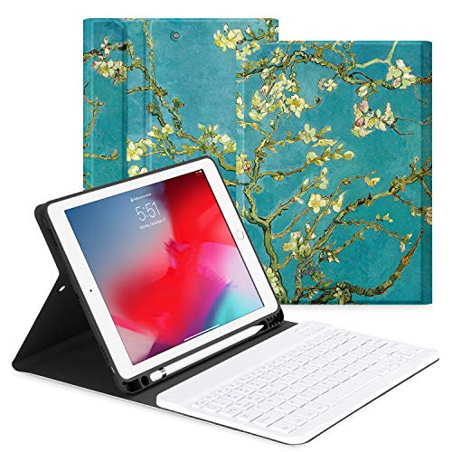 OLAIKE Hülle mit Tastatur für iPad 9.7,neues iPad 2018 (6. Generation),iPad 2017 (5. Generation),iPad Air 2/1,abnehmbare kabellose Tastatur, Auto Schlaf/Wach, Cover mit Stifthalter,The Apricot Flower - Apricot Flower