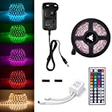 Sunix 6.6ft 5050 LED Strip Lights Kit, RGB Colour Changing LED Flexible Strip + DC12V Power Adapter + 44-Key Remote, Non-Waterproof, Mood Decoration Lighting