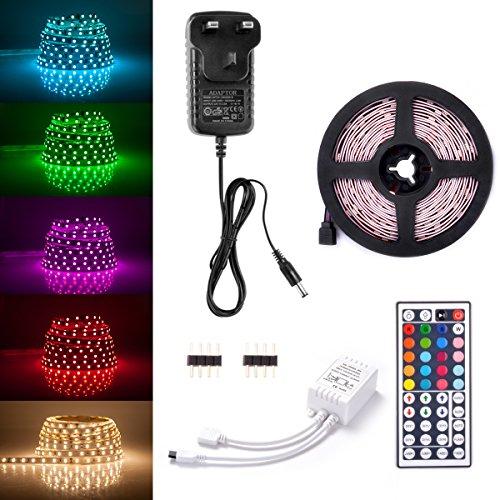 Sunix 6.6ft 5050 LED Strip Lights Kit, RGB Colour Changing LED Flexible  Strip +
