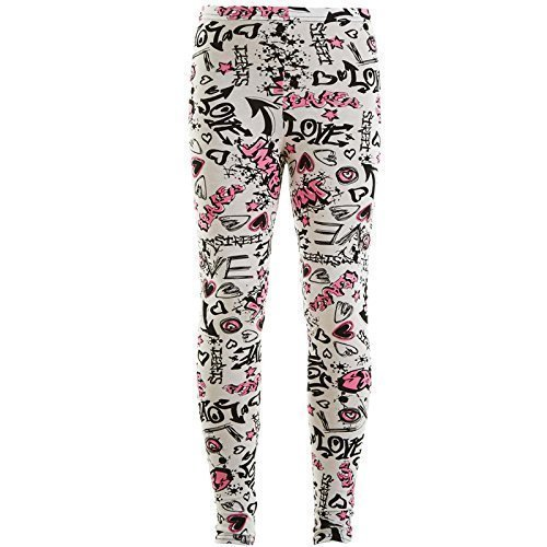 A2Z 4 Kids/® Kids Girls Legging Comic Graffiti Floral Leopard Tartan Aztec Zebra USA Flag Vertical Stripes Print Leggings New Age 5-13 Years