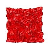 Kavitoz Kissenbezug Süße Rosen Blumen-Design Kissenhülle Kissenbezug Sofakissen Fall Bett Auto Dekor Dekokissen (Rot)