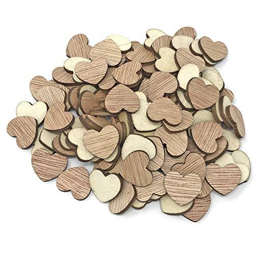 Herzen aus schlichtem Holz, shabby-chic, Konfetti-Herzen für Kunsthandwerk, 15mm , holz, beige, 15 mm