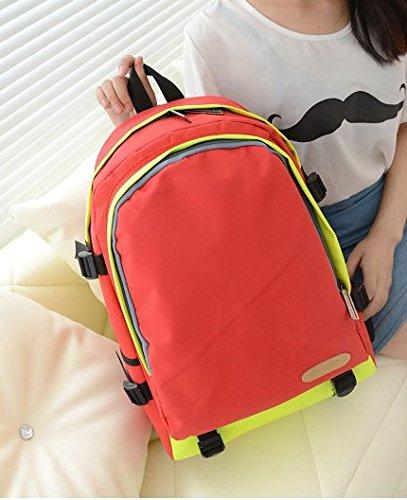 JNTworld High-End-Mischfarben Nylon Casual Schulter koreanische Frauen-College Wind Flut Handtaschen Schultaschen Rucksack, rosa rot
