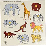 Skillofun Wooden Kingsize Identification Tray Wild Animals with Knobs, Multi Color