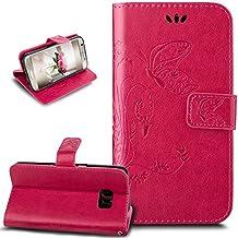 Galaxy S7Edge Funda, S7borde caso, ikasus, diseño de mariposa piel sintética plegable tipo cartera, funda de piel tipo cartera con función atril para tarjetas de crédito ID soportes carcasa para Samsung Galaxy S7Edge