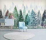 HONGYUANZHANG Aquarell Nebligen Wald Tapete Des Foto-3D Künstlerische Landschafts-Fernsehhintergrund-Tapete,56Inch (H) X 88Inch (W)