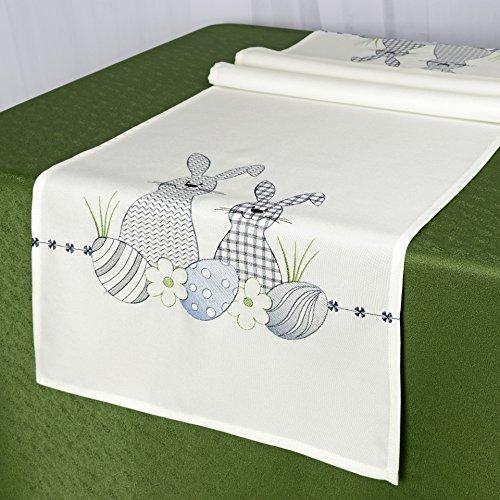 Tischläufer Ostereier & HASEN/weiß/40x140 cm/Modern/zu Ostern