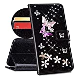 QPOLLY Cover Compatibile con Samsung Galaxy Note 9, Cover Brillantini Glitter Pelle PU Flip Libro Portafoglio Magnetica Supporto Custodia con 3D Bling Cristallo Diamante Farfalla Fiori Design,Nero