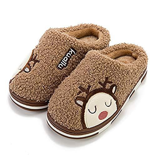 Inverno Pantofole Donna Peluche Cotone Scarpe da Casa Morbido Antiscivolo Caldo Comode Memoria Schiuma Pantofole per Interno Esterno - Stampa Animale Cervo del Fumetto(200,Cachi)