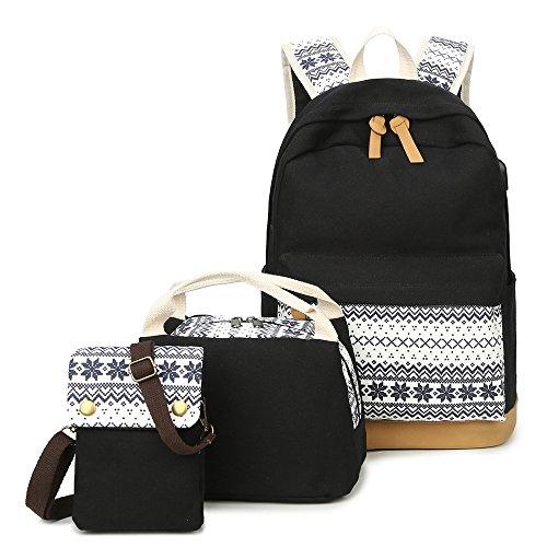 398416e29f037 Schulrucksack Set Canvas Rucksack Kühltasche Lunchbox Tasche  Handytasche Umhängetasche 3-In-1 Backpack Schulranzen für Maedchen Jungen  Jugendliche