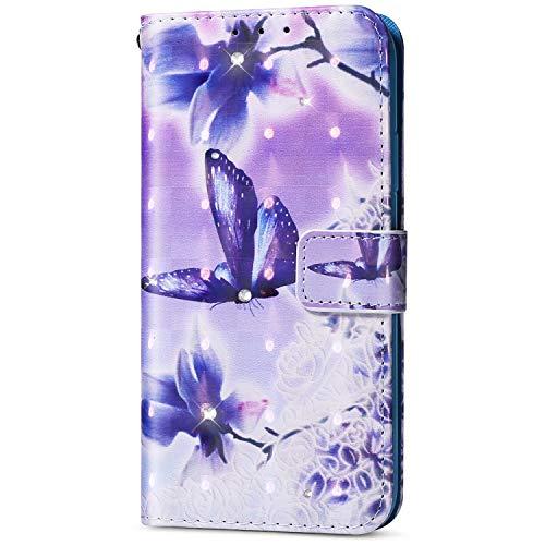 EUWLY Kompatibel mit Samsung Galaxy S5 Diamant Bling Strass Hülle Lederhülle Luxus Bling Bunte Ledertasche Handytasche Flip Case Glitzer Glänzend Leder Brieftasche Bookstyle Hülle,Blau Schmetterling (S5 Galaxy Cases Phone Brieftaschen Und)