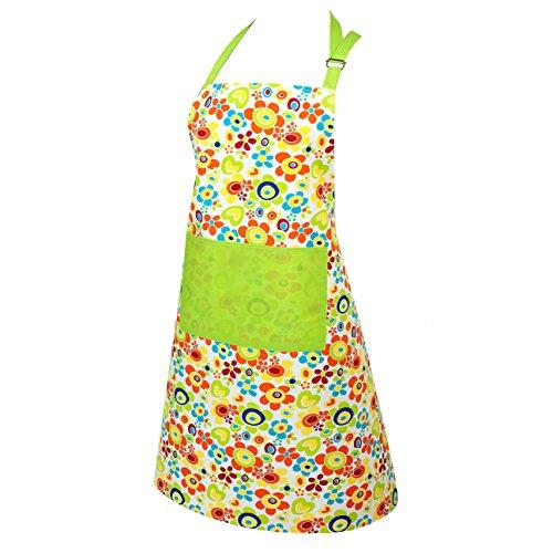 """Originelle Küchen-Serie """" FLOWER POWER """" - zur Auswahl : Topflappen oder Backhandschuhe oder Schürze , wunderschönes farbenfrohes Blumen - Motiv - hochwertig , mit Baumwolle , eine schöne kleine Geschenk - Idee - NEU aus dem KAMACA-SHOP (1 x Schürze ca. 70 cm x ca. 80 cm)"""
