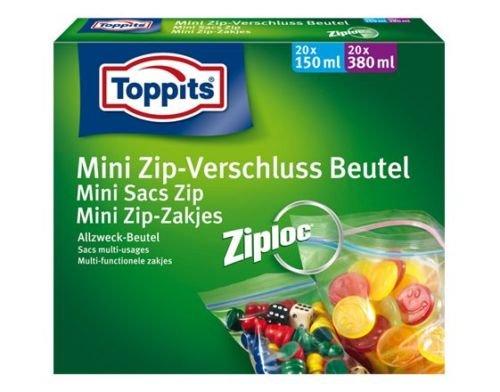 Toppits Mini Zip–Beutel mit Reißverschluss/Beutel (20x 150ml + 20x 380ml/mit Bügelverschluß) (Mini Verschluss)