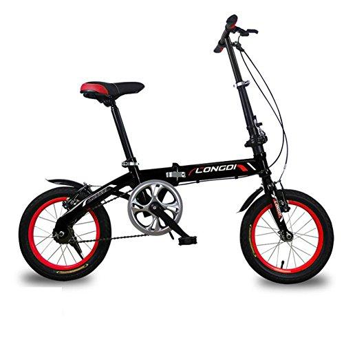XQ Doblez Bicicleta Velocidad No Variable Muy Ligero Hombres Y Mujeres Adulto Niño Coche Plegable 14/16 Pulgadas Bicicleta ( Color : Negro , Tamaño : 16-inch )