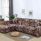 SSDLRSF Flower Printing Sofa Abdeckung Enge Wrap All-Inclusive StretchHussen für Wohnzimmer Waschbar Startseite/Hotel Couch Cover (90-300 cm), Farbe 16,2seater 145-185 cm