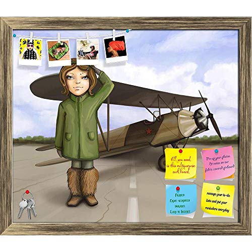 Artzfolio Little Aviator Girl Standing Near Airplane Printed Bulletin Board Notice Pin Board | Antique Golden Frame 13.9 X 12Inch -