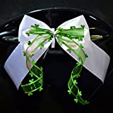 Miya@ 10 hochwertige Handgemacht Weiss Antenneschleifen mit Herzschleifen aus Satin, Auto Schleifen, Hochzeit Deko, Autoschmuck (grüne)