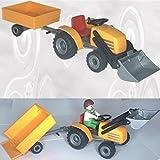 Playmobil kleiner Traktor Frontlader (Schaufel) mit Anhänger + 1 Fahrer-Figur - wie neu [3224710, Mini-Traktor]