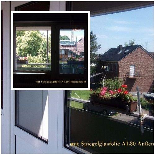 Spiegel Spion Fenster UV Folie Silber7,23€/m² Selbstklebend 152 cm breit (Silber 1m x76 cm)