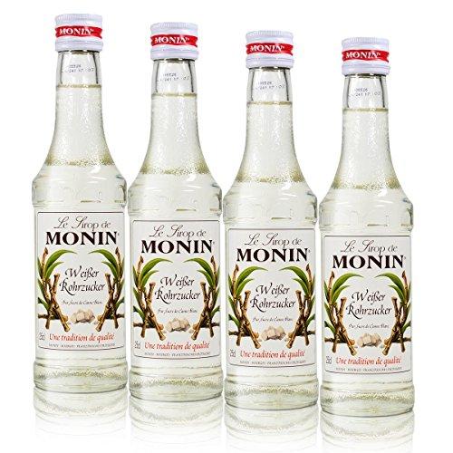 4x Monin Weißer Rohrzucker Sirup, 250 ml Flasche - für Cocktails, zum Kaffee oder Kochen