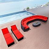 Festnight Polyrattan Gartensofa-Set Gartenlounge Sofa Set mit Sonnenliegen Gartenmöbel Sitzgruppe Sitzgarnitur Rot