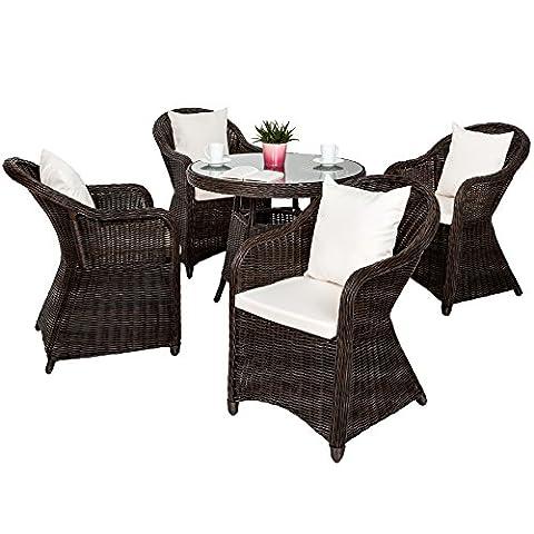 TecTake Luxus Alu Polyrattan Garten Sitzgruppe 4 Gartensessel und 1 Tisch - inkl. 8 Kissen - wetterfest - braun