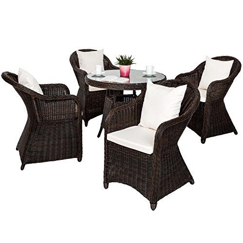 TecTake 800265 Luxus Aluminium Polyrattan Garten Sitzgruppe, wetterfest, 4 Gartensessel und 1 Tisch, inkl. 8 Kissen – Diverse Farben –