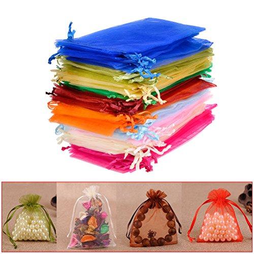 QLOUNI 100 Stück Organzasäckchen 10 x 15 cm Organzabeutel 10 farbige Geschenk Schmuckbeutel Beutel für die Verpackung von Geschenken