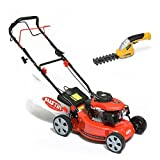 BMC Austin MiniMower 16″ 3HP 99cc Self Propelled Recoil Start 4 Stroke Petrol Lawn Mower with 7 Cutting Heights, Single Lever Height Adjustment, 45 Litre Collection Bag & Drive Speed Control & Powerplus 7.2v Lithium Ion Cordless Garden Hand Held Hedge / Grass Trimmer Shears