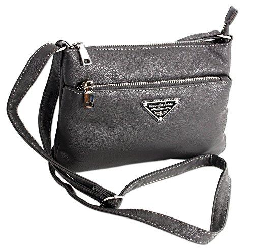 Kleine Clutch Damen Handtasche Umhängetasche Schultertasche für Frauen Crossbody Bag | auch als Handgelenk-Tasche tragbar (3430) (Grau)