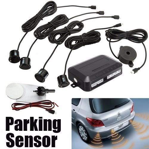 Elegiant, sensori di parcheggio, ausilio per la retromarcia, impermeabili, set da 4 sensori led combinati con allarme acustico, per auto, autocarri, camion