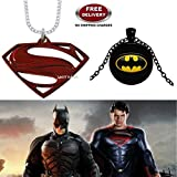 (2 Pcs COMBO SET) - SUPERMAN LOGO (RED) & BATMAN SMALL 3D GLASS DOME (BLACK) IMPORTED PENDANTS WITH CHAIN. LADY HAWK DESIGNER SERIES 2018. ❤ ALSO CHECK FOR LATEST ARRIVALS - NOW ON SALE IN AMAZON - RINGS - KEYCHAINS - NECKLACE - BRACELET &
