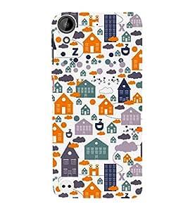 Fiobs Designer Back Case Cover for HTC Desire 530 (Graffiti House Building Alphabets Animals Trees)