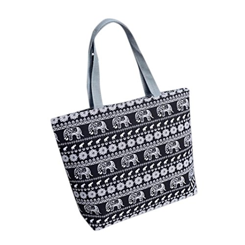 BZLine® Frauen Leinwand einkaufen Schulter Handtasche Tote Shopper Tasche, 42cm *32cm *9cm Schwarz