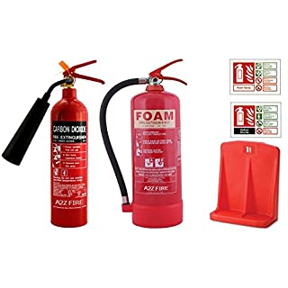 2kg CO2 Fire Extinguisher & 6 Litre Foam Fire Extinguisher with ID Signs & Double Stand- Office Multibuy Deal