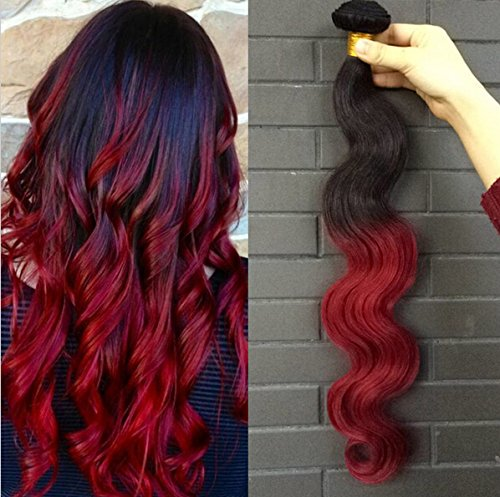 Hair In Bundles Extensions (Romantic Angels® 24''(60cm) Remy Braziliaanse Human Hair Extensions Body Wave Ombre Haar Weaves 1 bundle 100g Farbe#1b/red)