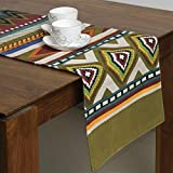 FireFlies Fantasy Geometrical Design100% Cotton Canvas Long Table Runner, Green for Office Kitchen Dining Wedding Party Home Decor 35 X 159 cms