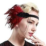 BABEYOND Damen 1920s Stirnband mit Feder 20er Jahre Stil Flapper Haarband Inspiriert von Great Gatsby Damen Kostüm Accessoires