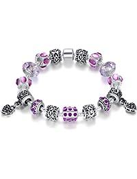 Presentski serpiente cadena encanto pulsera de la cadena de la mano con púrpura cúbicos cuentas de circonio y encantos románticos