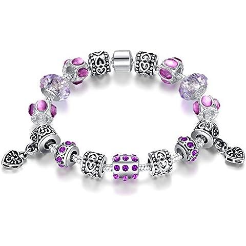 Argento Presentski catena placcata della catena del serpente fascino a mano con perline zircone cubi viola e Charms romantici