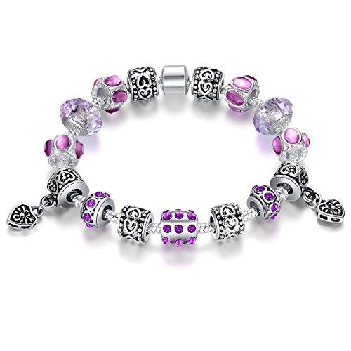 Presentski Schlangenkette Purple Color Charm Armbänder mit CZ Perlen und versilbert Charms für Mädchen (Manschetten-armbänder, Mädchen)