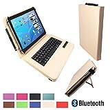xTab Bluetooth Qwertz Keyboard für Blaupunkt Discovery 1000C 108C Schutzhülle Case Cover 10.1 Beige Tastatur