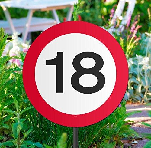 Folat Creative Gartenschild für Geburtstagsparty, Verkehrsschild, 18. Geburt (Mit Sie Auf Fotos Luftballons)