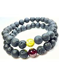 Aeora :Citrine & Garnet Couple Bracelet In Lava Rock Diffuser Beads,8mm Bead Bracelet For Daily Wear/office Wear...