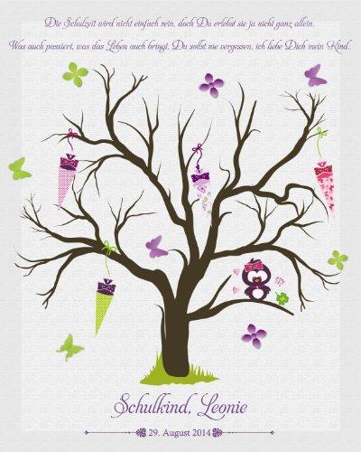 Livingstyle & Wanddesign Fingerabdruck Leinwand zum Schulanfang inkl. Stempelkissen mit Individualisierung (Mädchen)